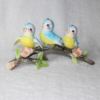 Vintage Norcrest Bluebirds on Branch 3 Blue Birds Lefton 1950s Japan