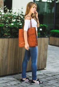 """14"""" Women Vintage Look Genuine Brown Leather Tote Shoulder Bag Handmade Purse"""