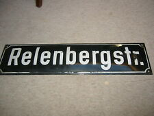 "Vintage German Street Porcelain enameled Sign ""Relenbergstr."" 1950s-1960s"