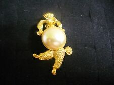Vintage Textured Goldtone Metal Clear Crystal Faux Pearl Poodle Dog Brooch Pin