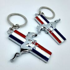 2Pcs Chrome Running Pony Horse Key Chain Metal Ring Keychain Key Fob for Mustang