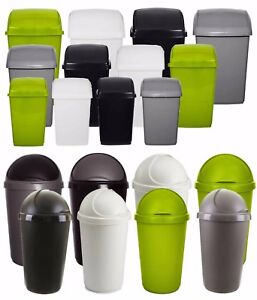 Plastic Flip Top Rectangle Bullet Waste Bin Paper Rubbish Kitchen Swing Bins W/F