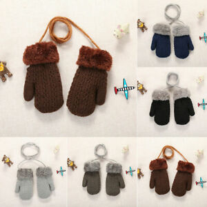 Toddler Baby Girls Boys Outdoor Winter Patchwork Keep Warm Mittens Gloves