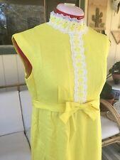 Vintage Bright Yellow Dress 1960's Bridesmaid White Lace Sz 11.5 Lorrie Deb Long