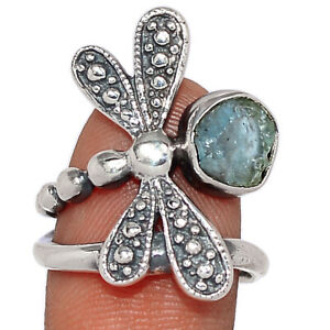 Dragonfly - Aquamarine Rough - Stone Of Courage 925 Silver Ring s.7.5 BR101393