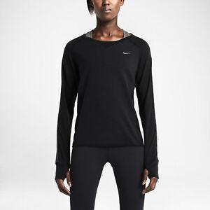 Nike Women's LS Sprint Crew Reflective Running Shirt Size L Black 646653-010