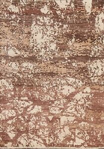 Contemporary Abstract Oriental Area Rug Hand-knotted Modern Foyer Carpet 5'x7'