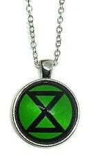 "Extinction Rebellion Anti Establishment Green Talisman Cabochon 22"" Necklace c1"