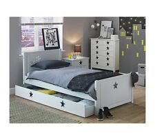 Stars Single Bed with Drawer - White