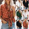 Chemises à manches courtes Pour femmes Noeud Collared Shirt Tops Blouse
