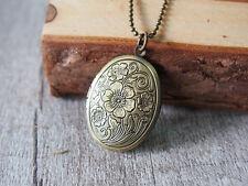 Plum Blossom Flower Brass Locket Pendant Necklace Brass Necklace Flower Jewelry