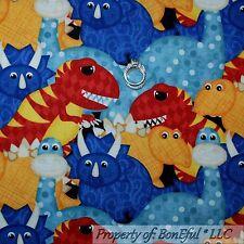 BonEful Fabric FQ Cotton Quilt Blue Dinosaur T-Rex Baby BOY Red Yellow White Dot
