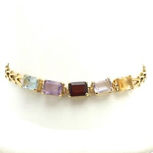 14k Gold Emerald Cut Topaz Amethyst Garnet Aquamarine Citrine Bracelet