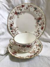 Minton Bone China Ancestral S-376 Floral Teacup, Saucer, and Dessert Plate