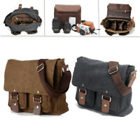 Canvas DSLR Camera Messenger Bag Shoulder Sleeve Photo Insert for Canon Nikon