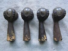 "SET OF 4 ANTIQUE CAST IRON & GLASS BALL, 4"" CLAW FEET"