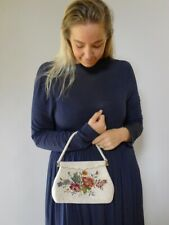 Vintage 30s Deco pearl beaded tapestry roses floral hand bag purse  good
