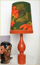VINTAGE STYLE TABLE LAMP RETRO 1960'S FABRIC LAMPSHADE WOODEN LAMP BASE