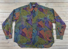 EQUILIBRIO Long Sleeve Vibrant Art Multi-Color Button Down Shirt Size M Italy