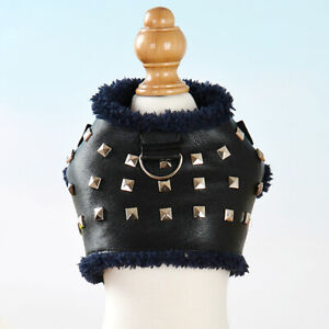 Extra Small Dog Harness Warm Fleece Puppy Pet Vest PU Leather Clothes Pomeranian