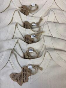 5 Pack Baby Bodysuits 12-18 Months, cream 100% organic cotton, short sleeve