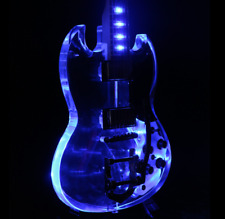2018 SG200 LED Light Electric Guitar Blue CNC Made Body Bigsby Bridge Acrylic