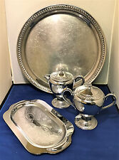 Vintage Pewter Sugar and Creamer with Serving Tray Plus LARGE Round Tray