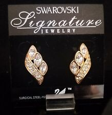 SWAROVSKI GOLD EARRINGS LARGE STONES WITH PAVE *NEW*