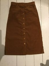 Closed Tan Needle Cord Pencil Midi Skirt Slight A Line Size 25