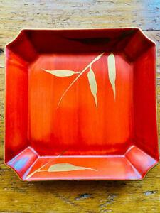 "Vintage Retro Fitz & Floyd Bamboo Rust Red/Gilt Palm Beach Pottery Dish Tray 6"""