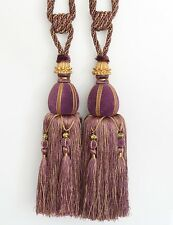 """Heavy Large 13"""" Luxury Tassel Curtain Tieback Holdback Beaded Velvet Purple Gold"""