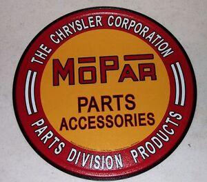 """MOPAR Parts Accessories 12"""" Tin Sign Chrysler Corporation Parts Division"""