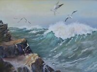 WATERCOLOUR RIDING THE WAVES  EXH ARTIST RENEE NASH FREE SHIPPING TO ENGLAND