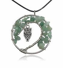 Teal Green Owl Tree of Life Stone and Wire Pendant Necklace