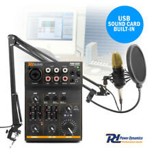 Podcast Desktop Condenser Microphone and 3 Channel USB Live Mixer Recording Set