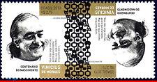 13-20TB BRAZIL 2013 VINICIUS DE MORAES, POET,MUSICIAN,CELEBRITIES,TETE-BECHE MNH
