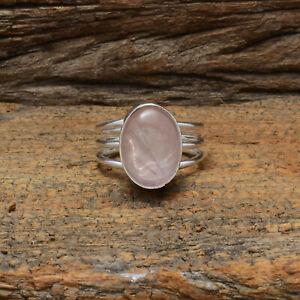 Unbelievable Rose Quartz Gemstone 925 Sterling Silver Handmade Ring All Size