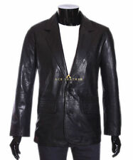 Leather Button Blazers for Men