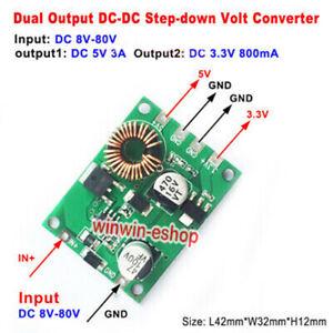 DC-DC Buck Step Down Converter 9-80V 12V 24V 48V 60V to 3.3V&5V Dual Volt Output