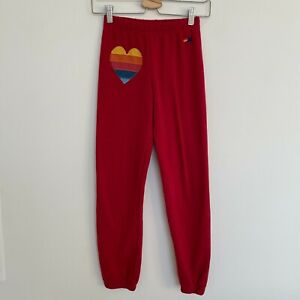 Aviator Nation Kids Heart Embroidered Sweatpants in Red Size 12