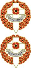 2 POPPY CAR STICKERS WITH CROSS AND WREATH  also ideal for laptops, tablets etc