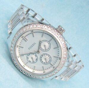 Fossil Kristall Damen Armbanduhr Day&Date Chrono Acryl BQ-1193 5ATM Bat neu N137