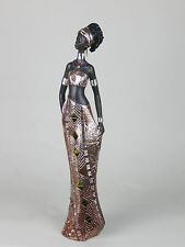 Tall African Lady Woman Female Ornament Figurine Silver Mosaic Mirror Dress Gold