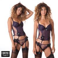 SAFIA conjunto de 3 piezas Bustier + tanga + boxer color violeta talla 95D / L