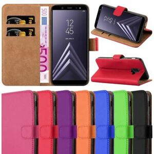 For Galaxy A6 Phone Case,Premium Leather Wallet Book Stand View Card Case Cover