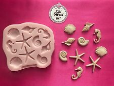 SEA HORSE SET AND SHELLS  silicone mold fondant cake decorating toppers cakes
