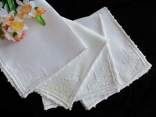 Four Antique Cream Linen Dinner Napkins Italian Handmade Floral Lace Insertions