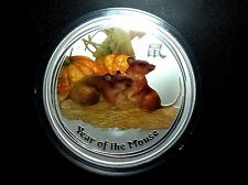 2008 Lunar Year of the Mouse Colored 1/2 oz .999 silver