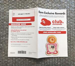 Nintendo Wii Club Nintendo Registration Insert - 100% Original/Authentic