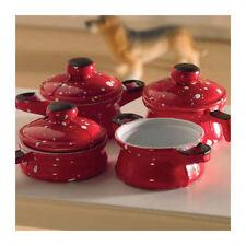 Dolls House 4533 rote Töpfe metall 1:12 für Puppenhaus NEU! #